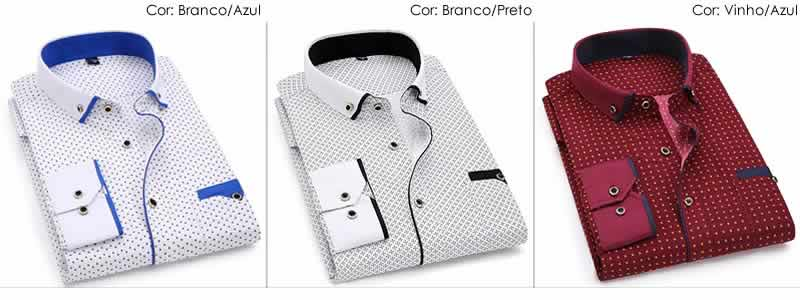 Camisa Slim Fit Luxury Social Casual Varias Cores C004