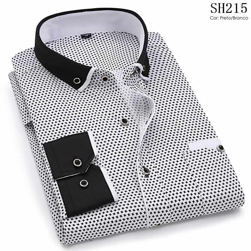 Camisa Slim Fit Luxury Social Casual Preto/Branco C004