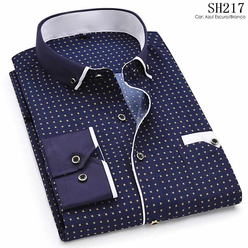 Camisa Slim Fit Luxury Social Casual Azul Escuro/BrancoC004