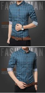 Camisa Slim Fit Quadriculada Manga Longa Azul Lago c001