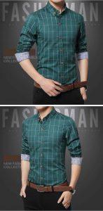 Camisa Slim Fit Quadriculada Manga Longa Verde c001
