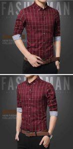 Camisa Slim Fit Quadriculada Manga Longa Vermelha c001