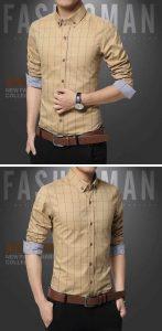 Camisa Slim Fit Quadriculada Manga Longa Caqui c001