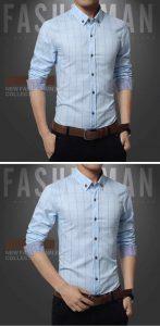 Camisa Slim Fit Quadriculada Manga Longa Azul Claro c001