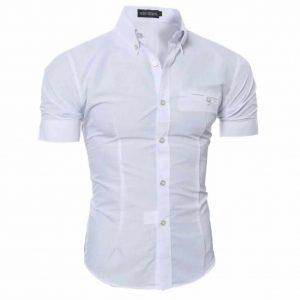 Camisa Manga Curta Casual Slim Fit Moda Verão Branca C013