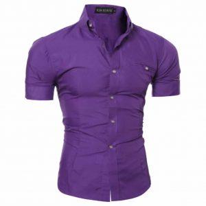 Camisa Manga Curta Casual Slim Fit Moda Verão Roxa C013
