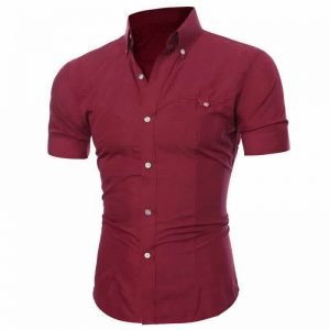 Camisa Manga Curta Casual Slim Fit Moda Verão Vinho C013