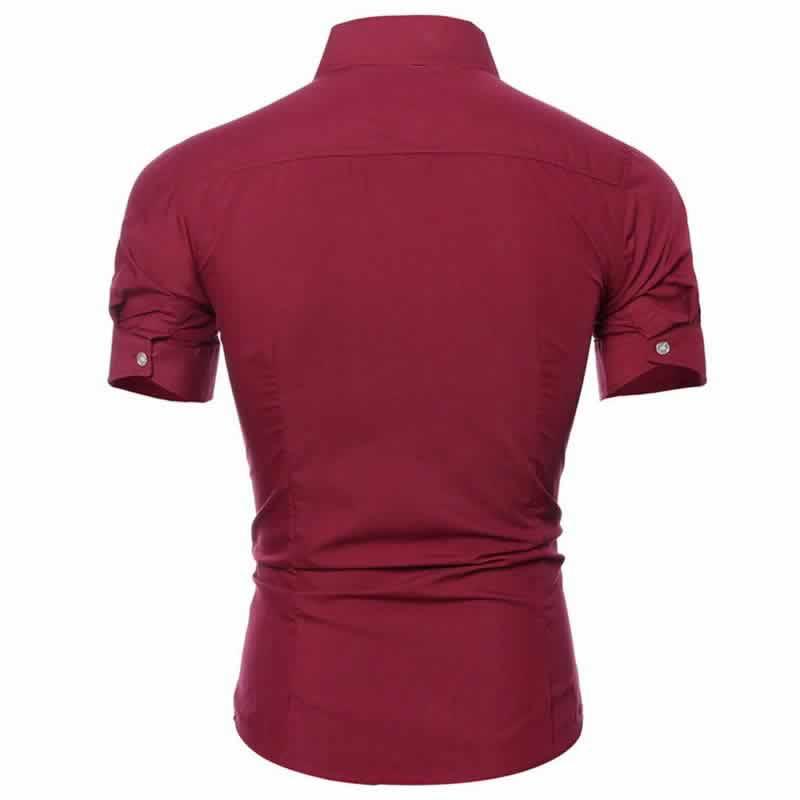 Camisa Manga Curta Casual Slim Fit Moda Verão Vinho Costas C013