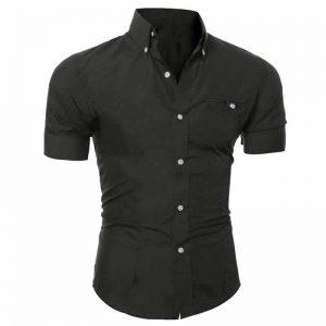 Camisa Manga Curta Casual Slim Fit Moda Verão Preta C013