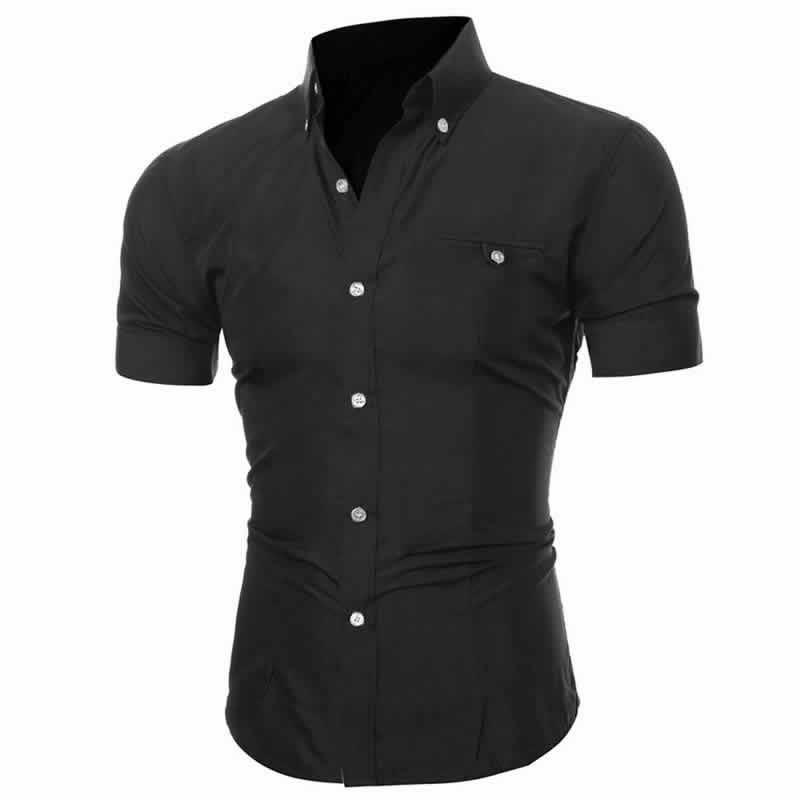 Camisa Manga Curta Casual Slim Fit Moda Verão Preta Lado C013