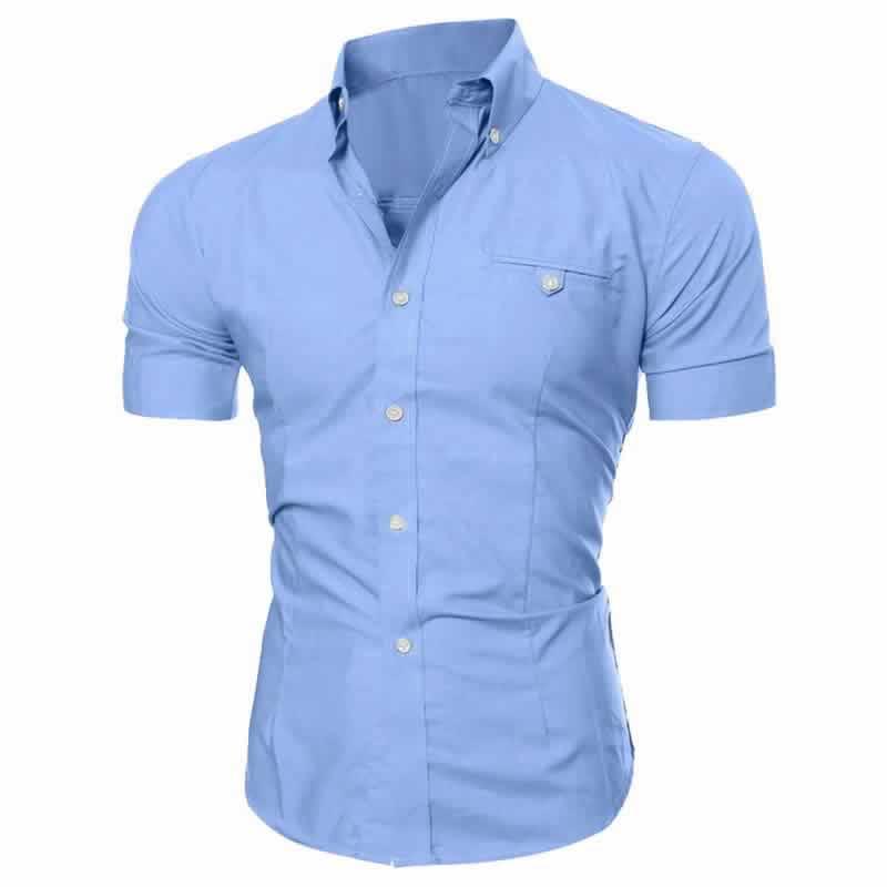 Camisa Manga Curta Casual Slim Fit Moda Verão Azul C013