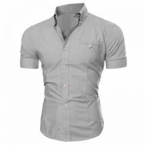 Camisa Manga Curta Casual Slim Fit Moda Verão Cinza C013