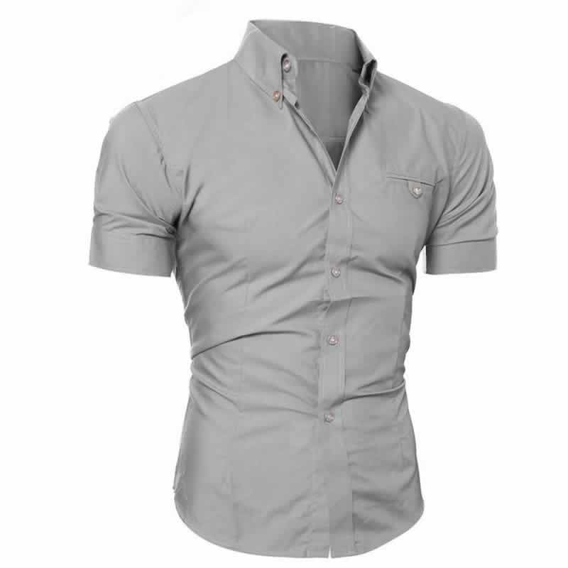 Camisa Manga Curta Casual Slim Fit Moda Verão Cinza Lado C013