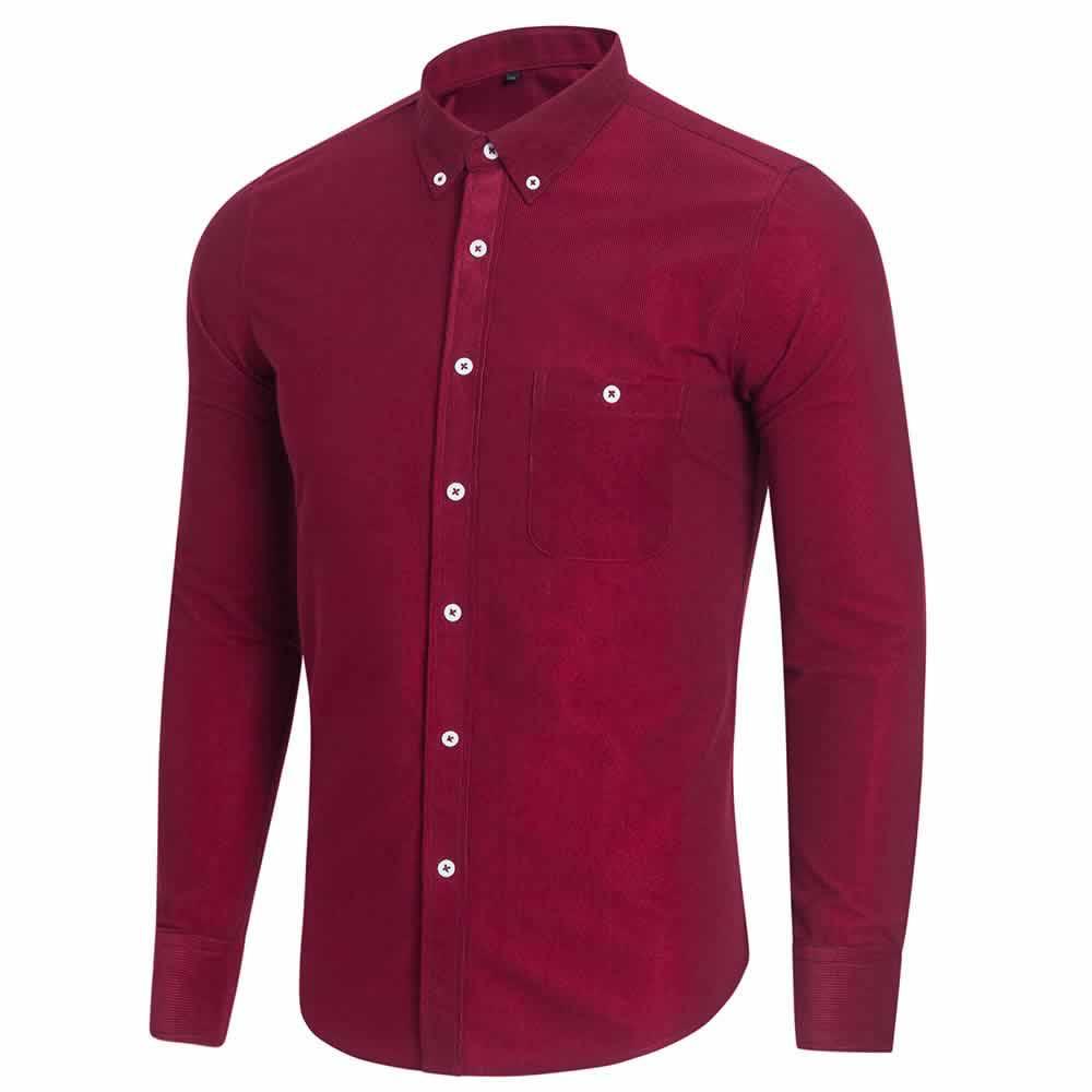 Camisa Casual Masculina Manga Longa Vermelha C009