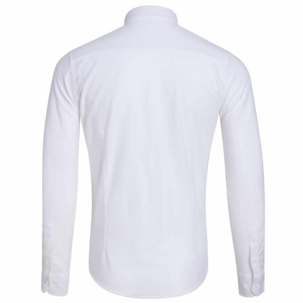 Camisa Casual Masculina Manga Longa Branca Costas C009