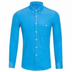 Camisa Casual Masculina Manga Longa Azul Claro C009
