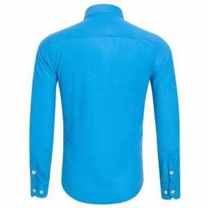 Camisa Casual Masculina Manga Longa Azul Claro Costas C009
