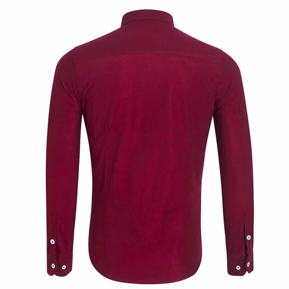 Camisa Casual Masculina Manga Longa Vermelha Costas C009