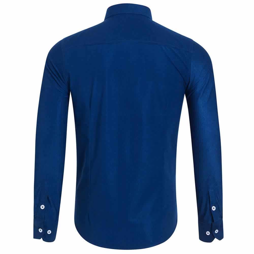 Camisa Casual Masculina Manga Longa Azul Costas C009