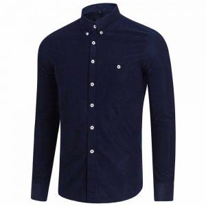 Camisa Casual Masculina Manga Longa Azul Marinho C009