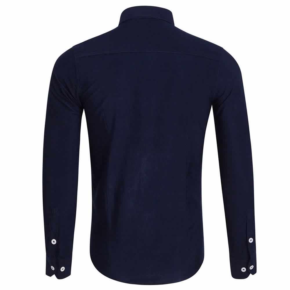 Camisa Casual Masculina Manga Longa Azul Marinho Costas C009
