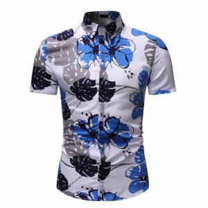 Camisa Floral Slim Fit Moda Verão C010