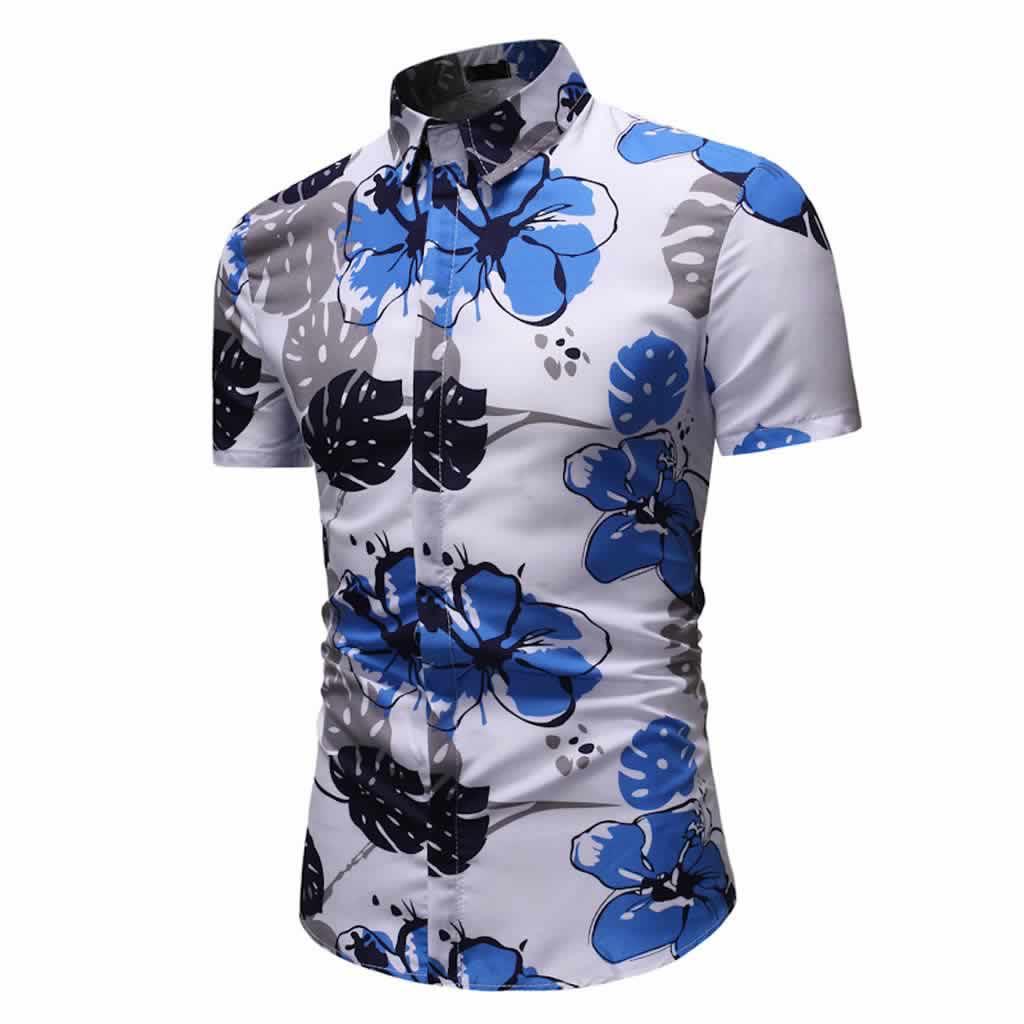 Camisa Floral Slim Fit Moda Verão Lado C010