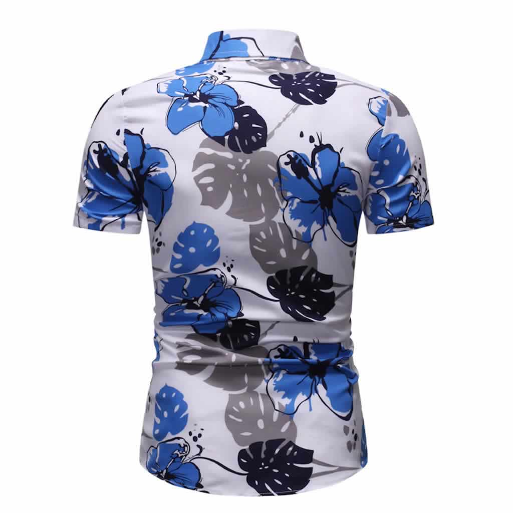 Camisa Floral Slim Fit Moda Verão Costas C010