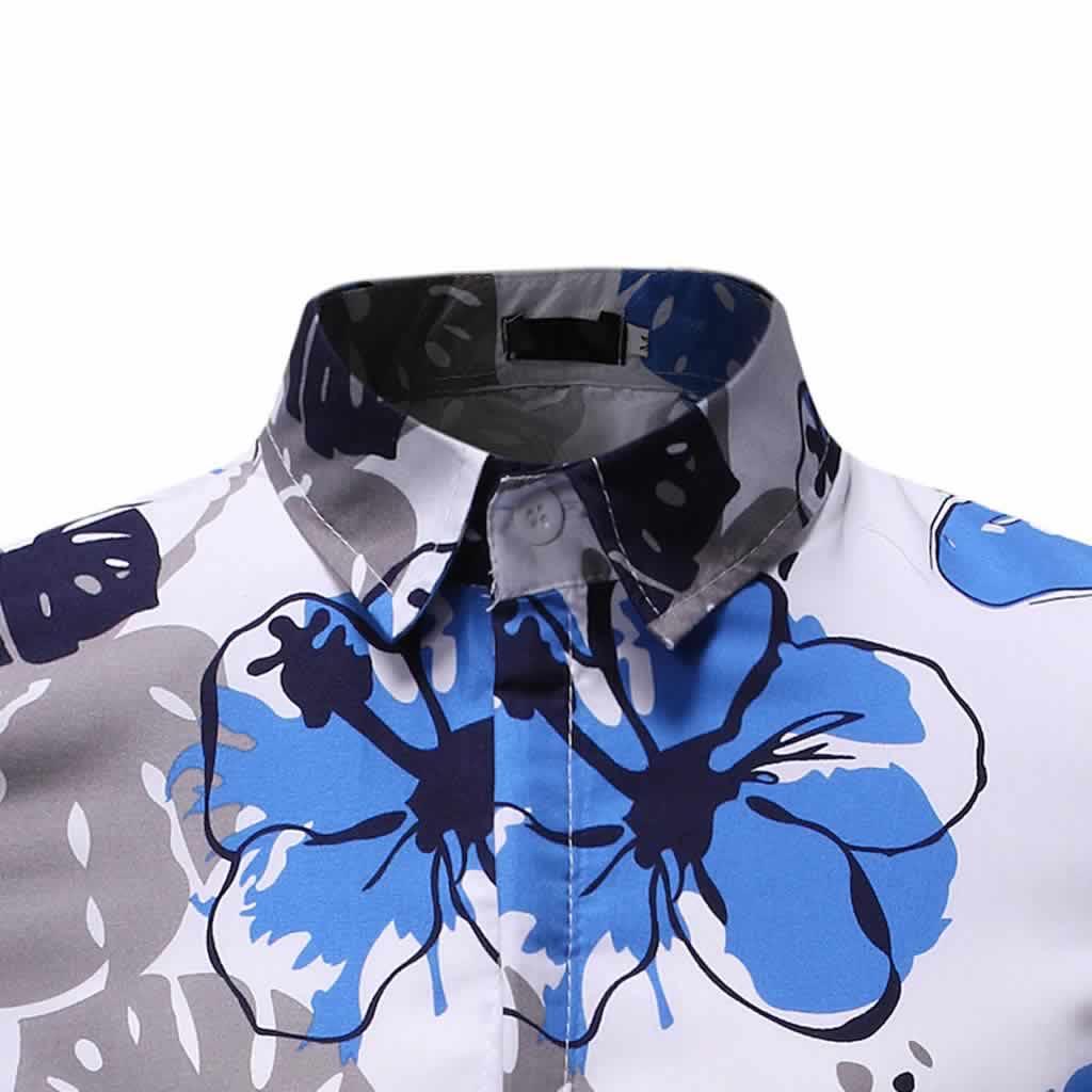 Camisa Floral Slim Fit Moda Verão Colarinho C010