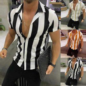 Camisa Casual Listrada Slim Fit Manga Curta Moda Verão Varias Cores C012
