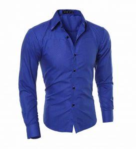 Camisa Slim Fit Turn-down Collar Masculina Azul C008