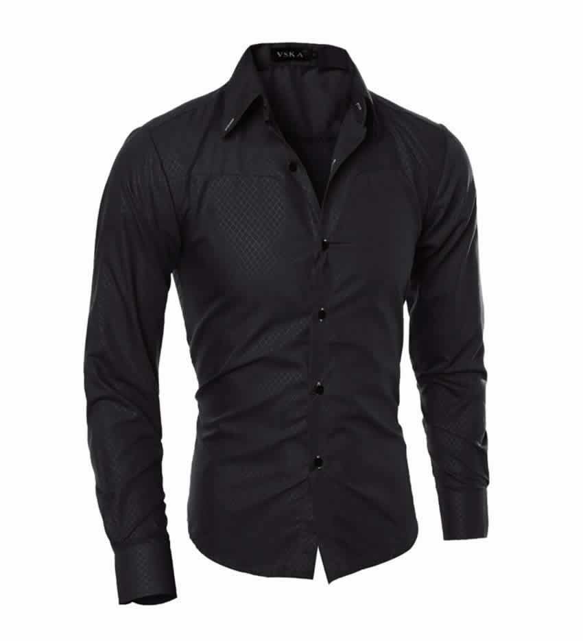 Camisa Slim Fit Turn-down Collar Masculina Preto C008