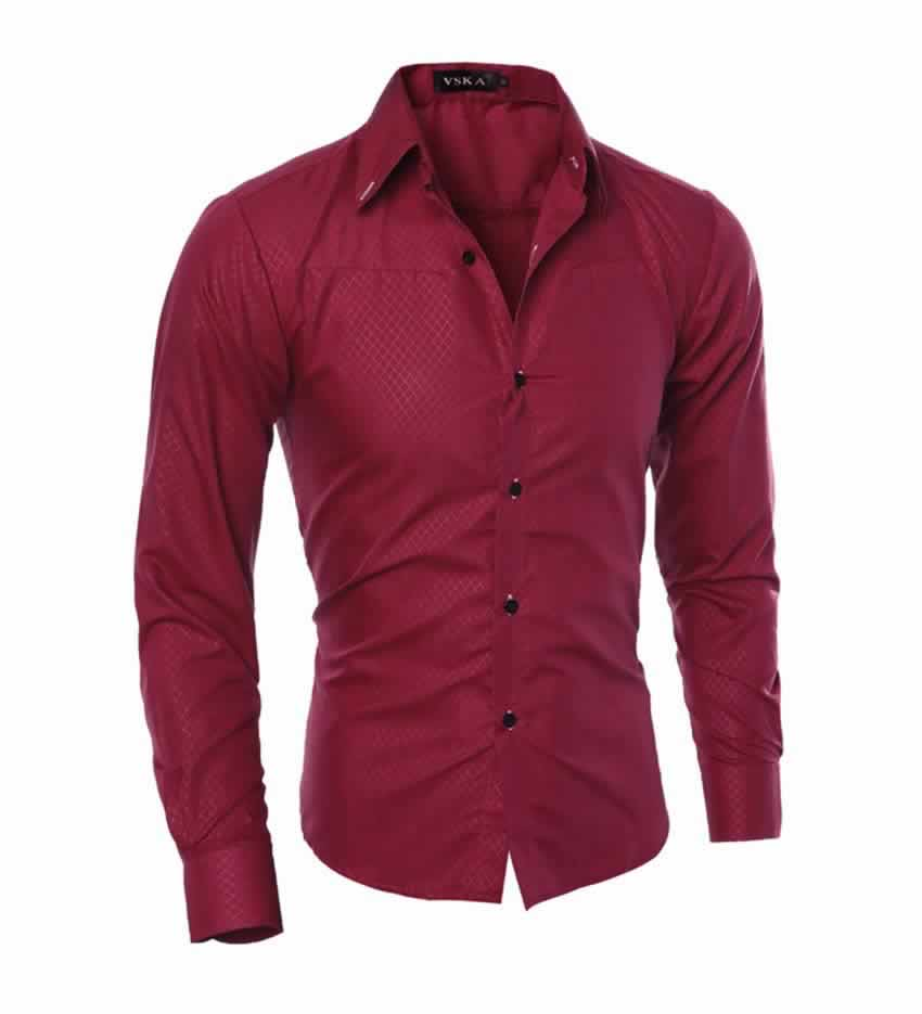 Camisa Slim Fit Turn-down Collar Masculina Vinho C008