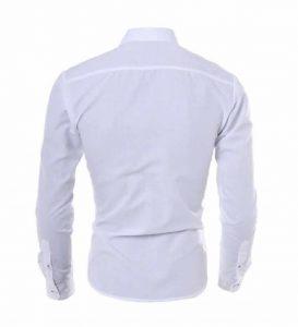 Camisa Slim Fit Turn-down Collar Masculina Branca Costas C008