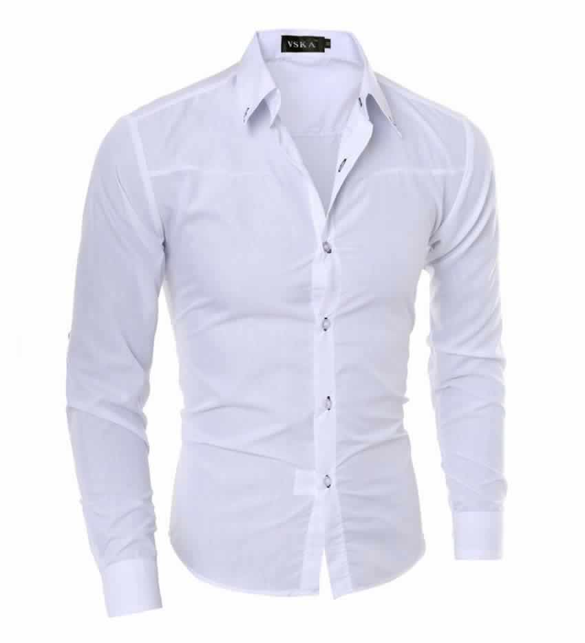 Camisa Slim Fit Turn-down Collar Masculina Branca C008