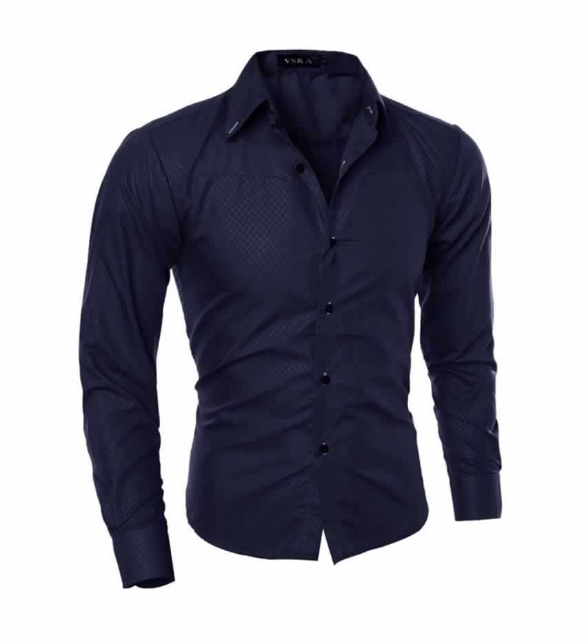 Camisa Slim Fit Turn-down Collar Masculina Azul Escuro C008