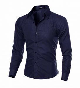 Camisa Slim Fit Turn-down Collar Masculina Azul Escuro Lado C008