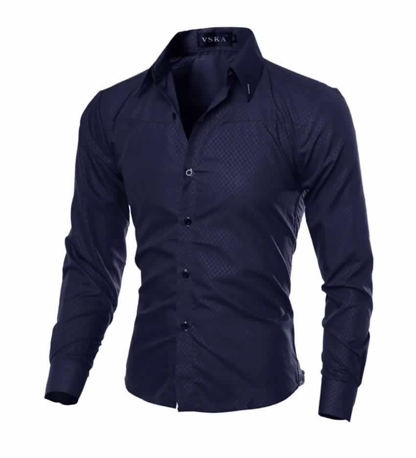 Camisa Slim Fit Turn-down Collar Masculina Azul Escuro Lado C008