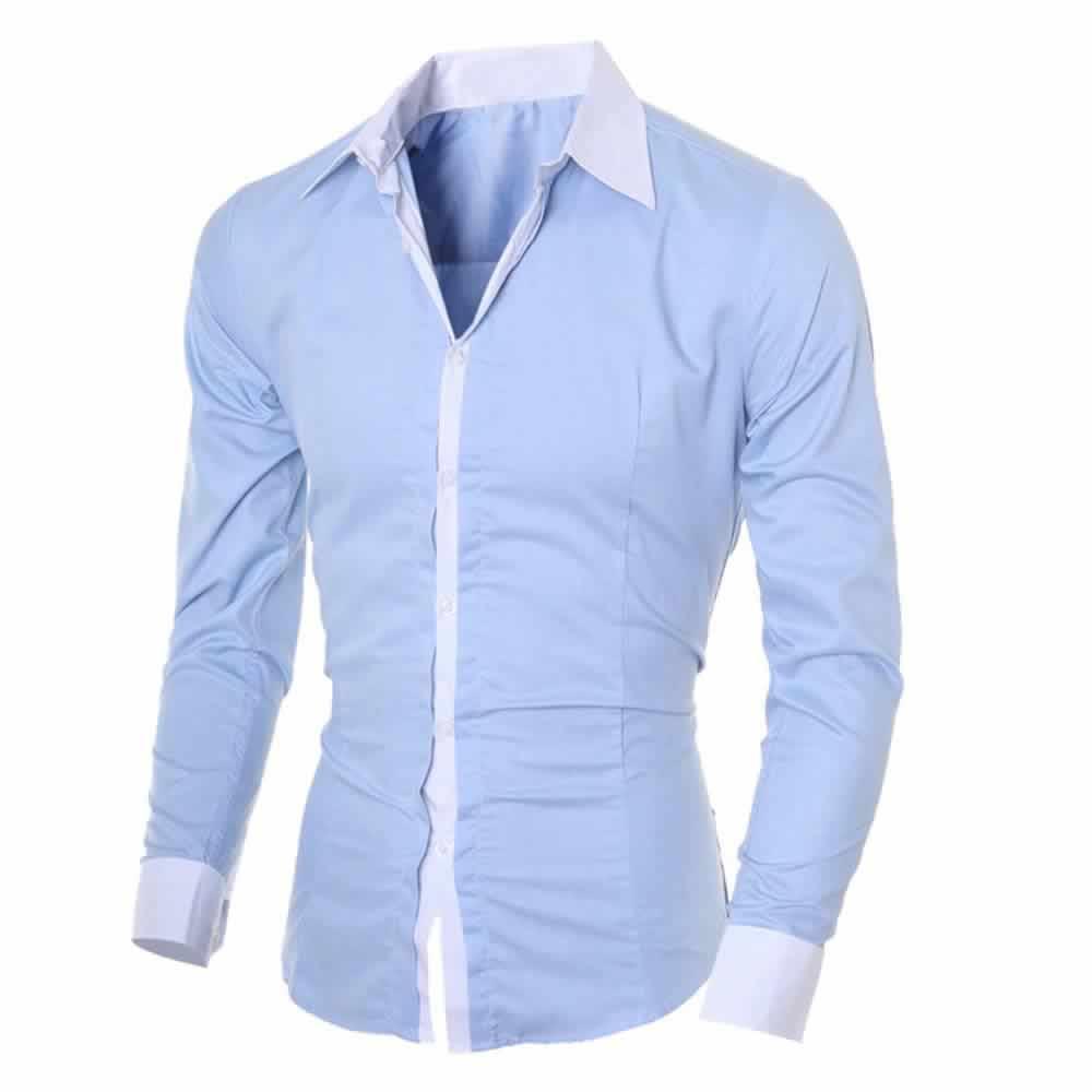 Camisa Manga Longa Elegante de Alta Qualidade Azul C006