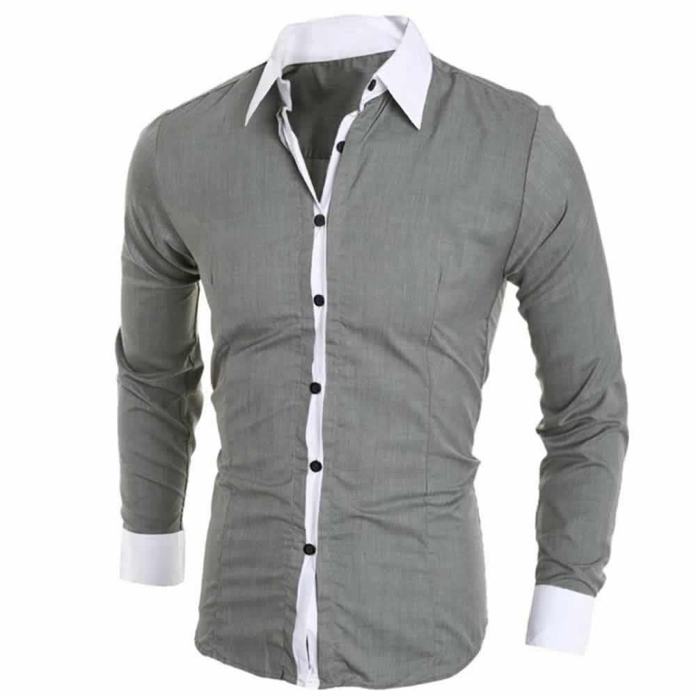 Camisa Manga Longa Elegante de Alta Qualidade Cinza Costas C006