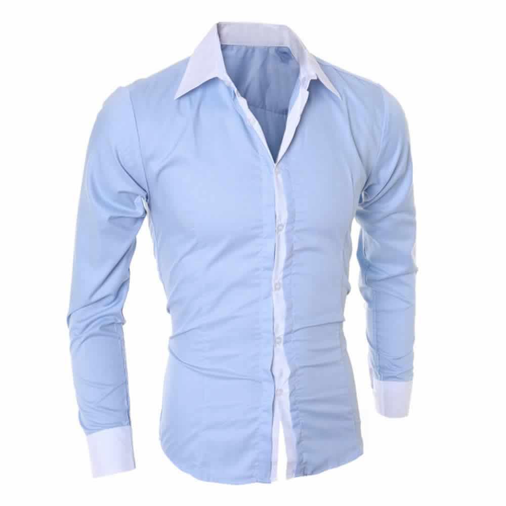 Camisa Manga Longa Elegante de Alta Qualidade Azul Lado C006