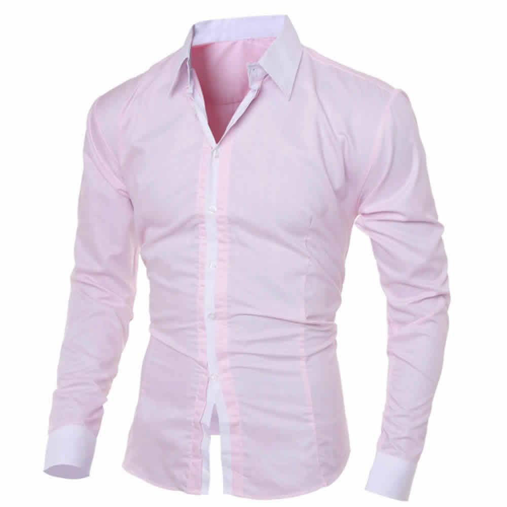 Camisa Manga Longa Elegante de Alta Qualidade Rosa C006