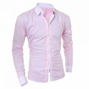 Camisa Manga Longa Elegante de Alta Qualidade Rosa Costas C006