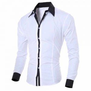 Camisa Manga Longa Elegante de Alta Qualidade Branca C006