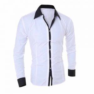 Camisa Manga Longa Elegante de Alta Qualidade Branca Costas C006