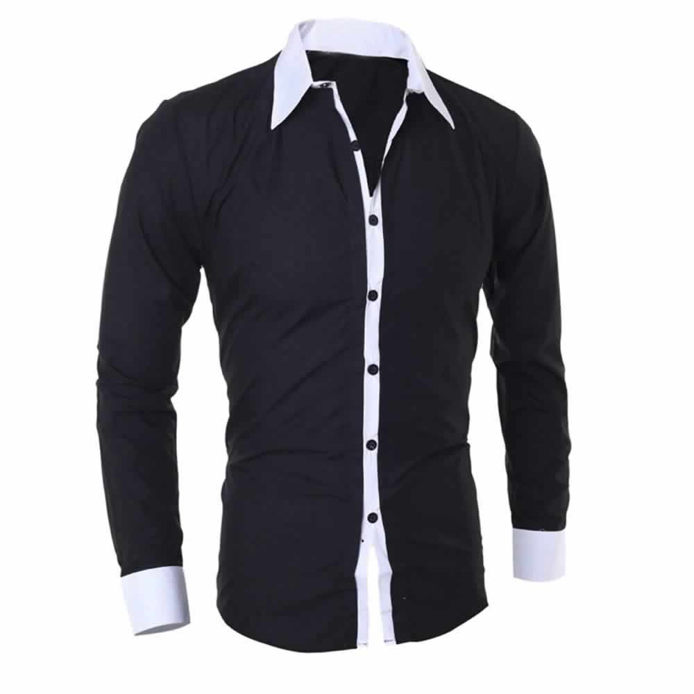 Camisa Manga Longa Elegante de Alta Qualidade Preta Costas C006