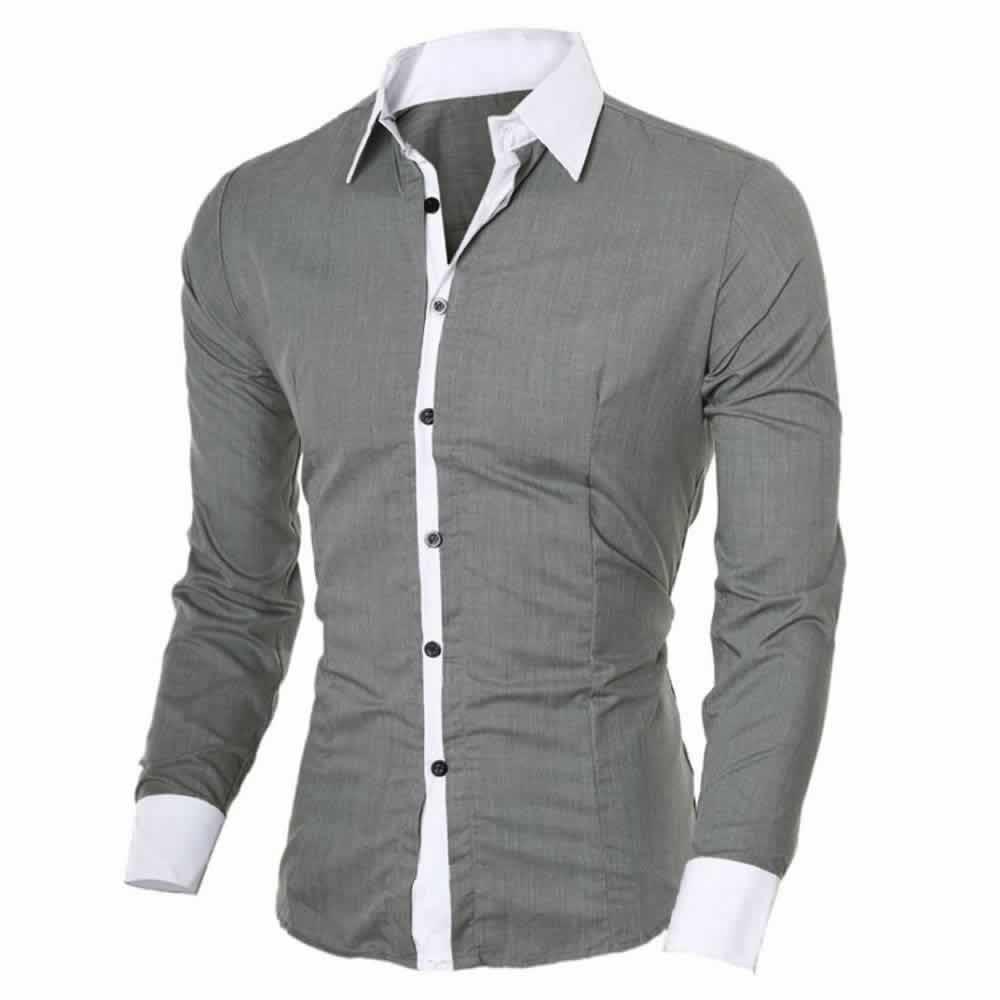 Camisa Manga Longa Elegante de Alta Qualidade Cinza C006