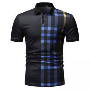 Camisa Polo Manga Curta Moda Streetwear Preta C015