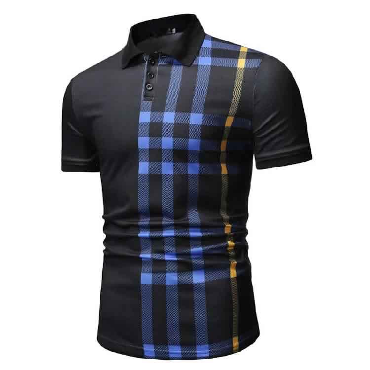 Camisa Polo Manga Curta Moda Streetwear Preta LadoC015