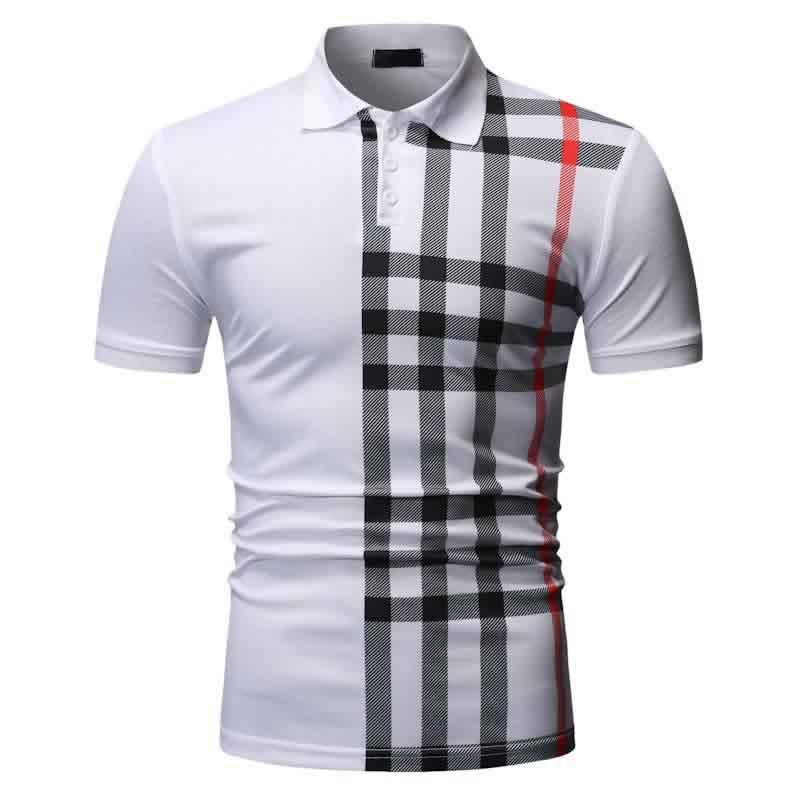 Camisa Polo Manga Curta Moda Streetwear Branca C015